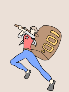 大きいハンマーを持っている槇村香のイラスト
