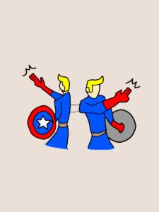 指示を出しているキャプテン・アメリカのイラスト