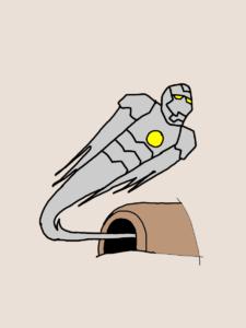 ラボを飛び立つアイアンマン・マーク2のイラスト