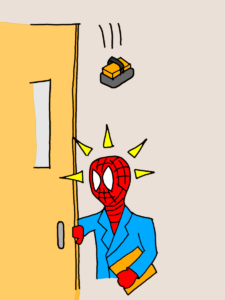 黒板消しが落ちてくるのに直観で気付くスパイダーマン