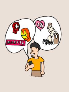 スマホでユーネクストの動画を見ている人のイラスト