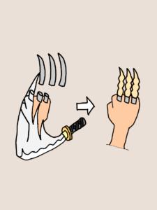 爪を切断されてまた生えてくるウルヴァリンの爪