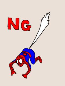 スパイダーマンのお尻から糸が出ているイラスト