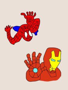 スパイダーマンとアイアンマンのイラスト