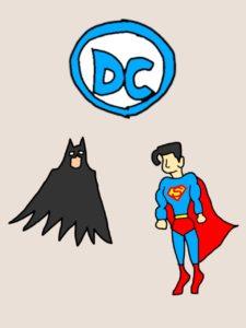 バットマンとスーパーマンのイラスト