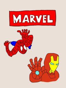 マーベルのタイトルイラストとスパイダーマンとアイアンマンのイラスト