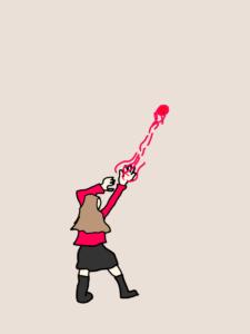 エネルギー玉を発射するスカーレット・ウィッチ