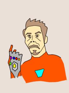 インフィニティーストーンを手にし指を鳴らすトニースターク