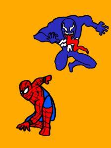 ヴェノムとスパイダーマン、イラスト