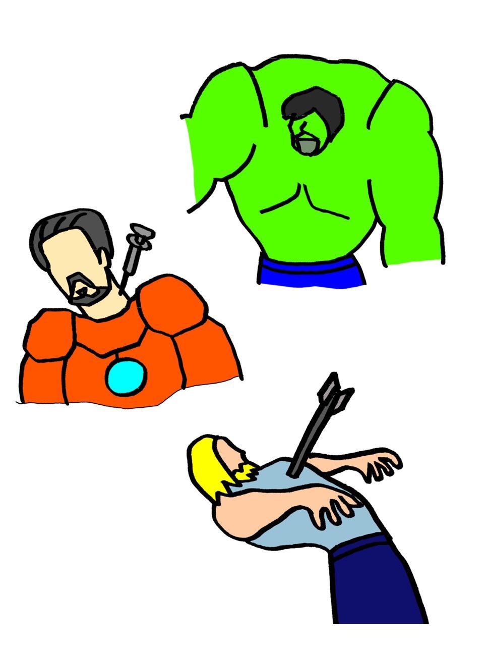 アイアンマン、ソー、ハルクのイラスト